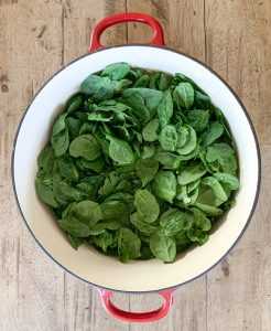 Spinach added to the pot
