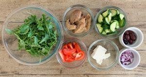 Prepare ingredients for how to make greek salad