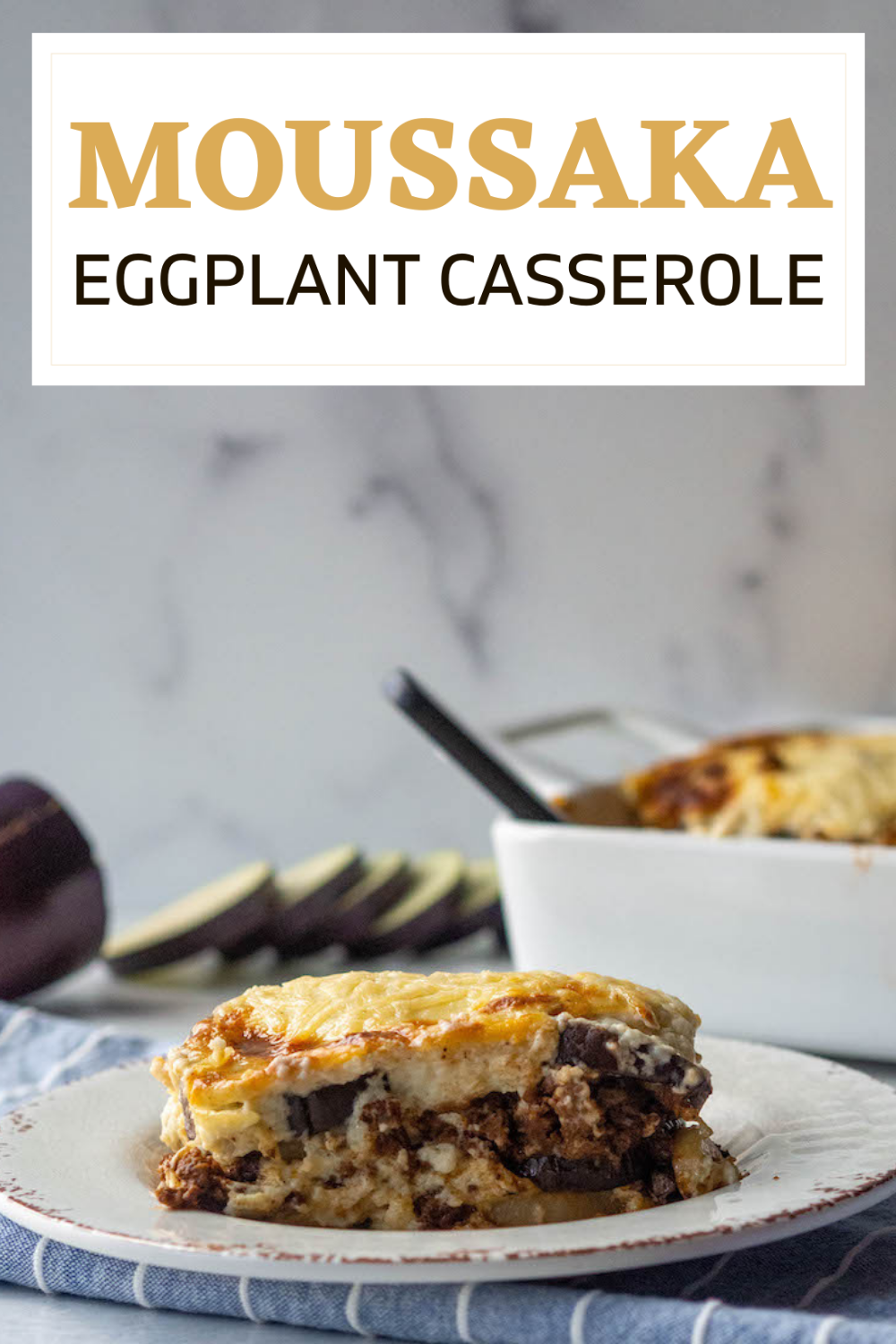 Moussaka - Eggplant Casserole is one of the most famous Greek dishes. It includes layers of fried eggplant and potatoes with a hearty meat sauce covered with a thick layer of Bechemel Sauce that is allowed to get golden brown as it cooks. Every family has their own version of Moussaka and ours is no exception. via @CookLikeaGreek