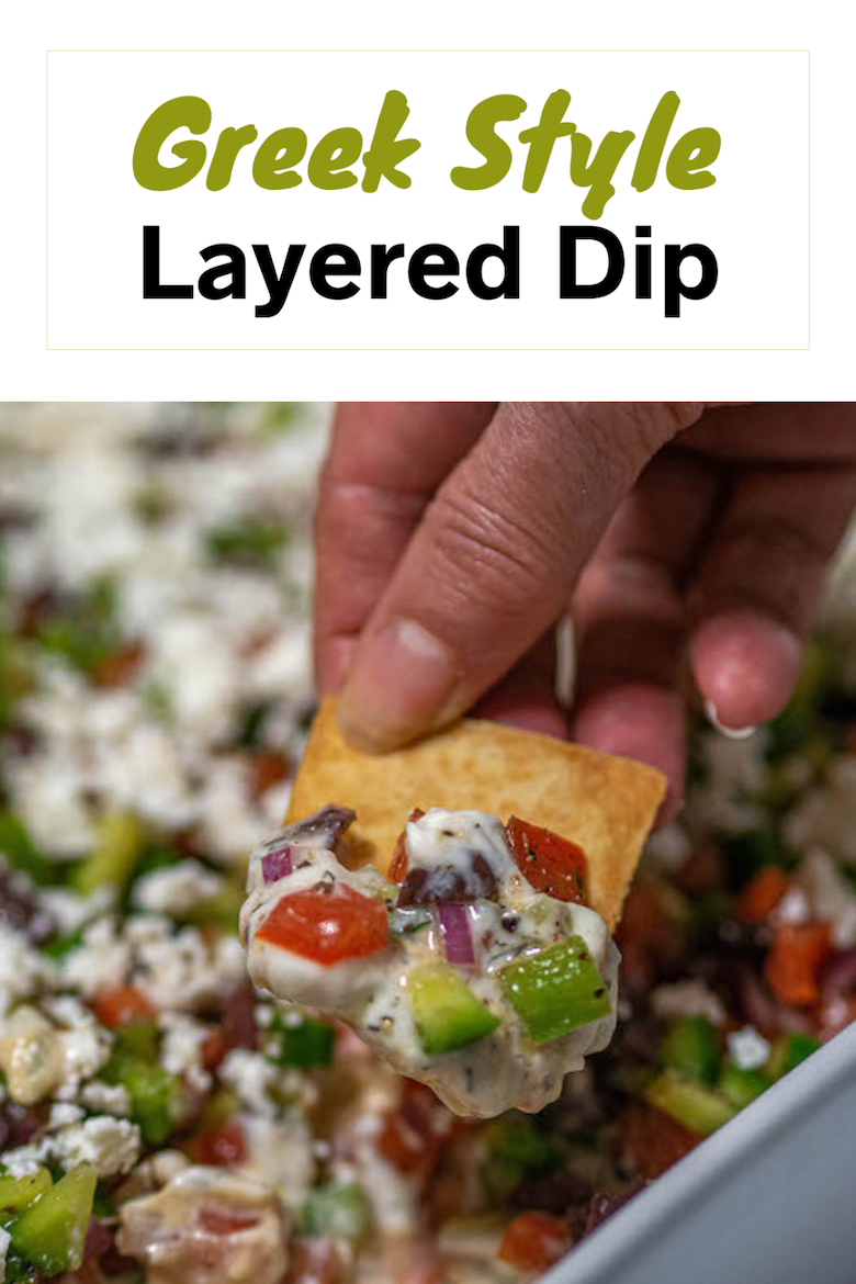 Our Greek Style Layered Dip comes together really quickly and is a definite crowd pleaser. You will love it! via @CookLikeaGreek